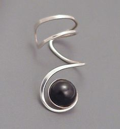 Sterling Black Onyx EAR CUFF - Silver Sidewinder Ear Wrap