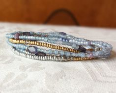 Iolite Beaded Wrap Bracelet - Soft Blues, Genuine Iolite and Gold Long Seed Bead Stackable Multi Strand Stretch Bracelet, Necklace