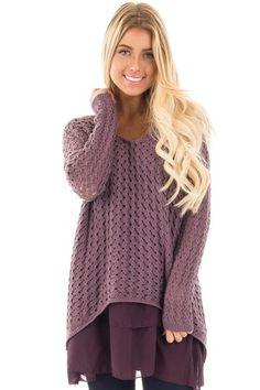 Lilac Knit Sweater with Chiffon Ruffle Detail front close up