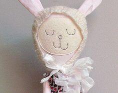 Bunny Doll Rag Doll Dress up Doll Nonsynthetic by MiniwerkaToys