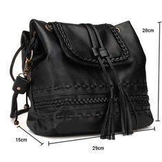 e9f140740d9a Women Knitted Tassel Bucket Shoulder Bag Girly Stuff