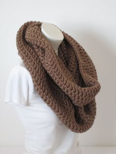 Chunky Infinity Scarf, Oversized Thick and Warm-Cafe latte...Free Matching beanie hat with pom poms by VansBasicWear on Etsy