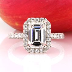 3.17ct Emerald Cut Diamond Engagement Ring and Anniversary Ring
