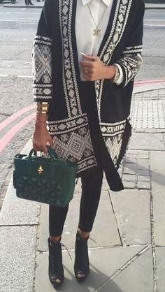 fall street style ,ethnic pattern cardigan, love it