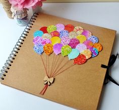 Beautifully hand-decorated Balloons album - makes a perfect baby album / scrapbooking, photo album and even wedding comments book. The cover is so