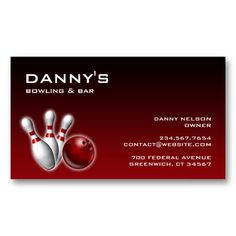 Elegant Bowling Entertainment Fun Game Business Card. It's two-sided with no additional charge, and totally customizable!