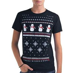 Mens Christmas Snowman T-Shirt -Navy-Comfy Alternative to a Christmas  Jumper. 514138b0359