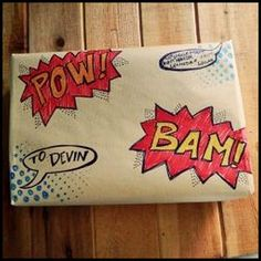 Comic Book Themed Homemade Wrapping Paper