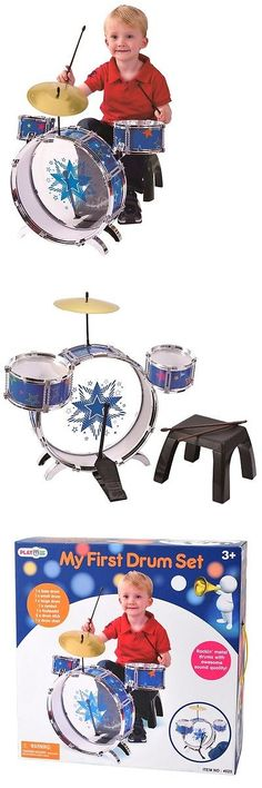 Music and Art 11735: My First Drum Set Metal Drums Foot Pedal And Chair By Playgo ~New~ -> BUY IT NOW ONLY: $53.39 on eBay!