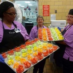Beautiful Fruit! Your extra efforts are appreciated! #lunchladies #cafeteriafood #fruitcups #rainbowfood