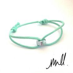 Bracelet coulissant cordon vert d'eau écrou argenté