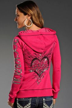Rock and Roll Cowgirl Pink Hoodie