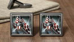 Captain America Gift Cuff Links Captain by OurCufflinkShop Superhero Cufflinks, Captain America, Avengers, Marvel, Fancy, Unique Jewelry, Handmade Gifts, Etsy, Beautiful