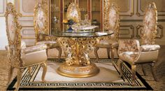 Italian Round Dining Room in Classic Style - Top and Best Classic Furniture and Classical interior Design Italian Companies Royal Furniture, Italian Furniture, Classic Furniture, Furniture Styles, Dining Room Furniture, Furniture Online, Furniture Dolly, Furniture Market, Rattan Furniture