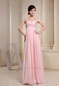 White Beaded Chiffon One Shoulder Empire Waist Prom Dress | Prom ...