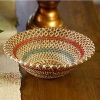 Natural fibers bowl, 'Colorful Infinite'.  At Novica 8/26/14.   http://www.novica.com/itemdetail/?pid=172487 $42.99 - regularly $70.95.