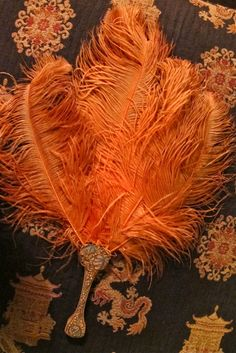 Antique hand fan purse with carved handle and orange by taffnie Costume Accessories, Vintage Accessories, Vintage Fans, Vintage Ladies, Hand Held Fan, Hand Fans, Ostrich Feathers, Belle Epoque, Favorite Color