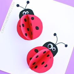 Make 3D paper ladybug crafts with your kids for summer or homemade cards!