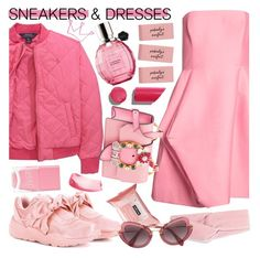 """No 477:Pink Girl"" by lovepastel ❤ liked on Polyvore featuring Ralph Lauren, Halston Heritage, Puma, Neutrogena, Jennifer Behr, Miu Miu, Chanel, Nails Inc., Viktor & Rolf and SNEAKERSANDDRESSES"