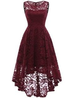 Market In The Box Women's Lace Dress Vintage Floral Sleeveless Hi-Lo Formal Party Dress Asymmetrical Cocktail Formal Swing Dress Short Bridesmaid Dresses, Homecoming Dresses, Short Dresses, Lace Bridesmaids, Cosplay Dress, Plus Size Maxi Dresses, Lace Dresses, Dress Lace, Sexy Dresses