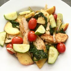 When you don't feel like a cold salad make a warm one! Super easy: use chopped pre-cooked chicken breast and sautee with some sliced onions minced garlic a handful of chopped spinach sliced apples and grape tomatoes. Season with a little S&P and thyme squeeze some lemon juice over everything and top with slices of fresh cucumber! Then devour that sht you're welcome! by lowcarbclub