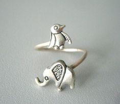 silver penguin elephant ring wrap style adjustable ring