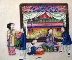 La nascita, album con pitture cinesi su carta di riso, Musei Civici di Reggio Emilia