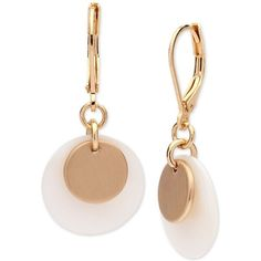 Anne Klein Gold-Tone & Mother-of-Pearl Disk Drop Earrings ($24) ❤ liked on Polyvore featuring jewelry, earrings, gold, goldtone jewelry, gold tone drop earrings, gold colored jewelry, mother of pearl drop earrings and mother of pearl earrings