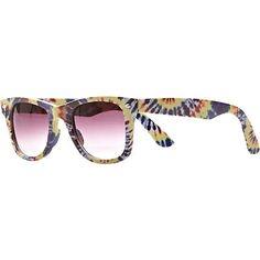 Yellow Tie Dye Retro Sunglasses