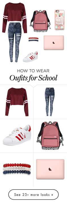 Pink day to school by baekhyunie on Polyvore featuring adidas, Victorias Secret, Kim Rogers and Casetify