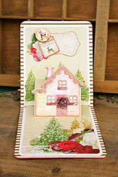 ADORE this Pop 'n Cuts House card by Jan Hobbins. Uses the A2 Pop 'n Cuts Base, House Insert, House Thinlits and Sassy Label Stitched Framelits - In My Own Imagination: Christmas Pop 'N Cuts Cards