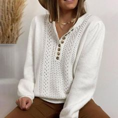 Casual Sweaters, White Sweaters, Casual Tops, White V Necks, Winter Sale, Pullover, White Long Sleeve, Pulls, Long Sleeve Sweater