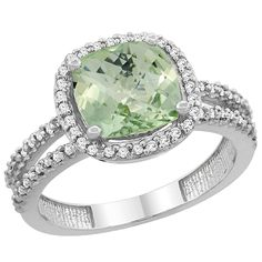 14K White Gold Natural Green Amethyst Ring Cushion-cut 8x8 mm 2-row Diamond Accents, sizes 5 - 10 *** Quickly view this special  product, click the image : Promise Rings