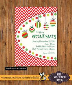 Christmas Cocktail Party Invitation  Holiday by TheHoneyBeePress