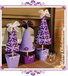 Little Purple Christmas Trees Purple Christmas Tree, Xmas Tree, Christmas Time, Christmas Tables, Diy And Crafts, Christmas Crafts, Christmas Decorations, Christmas Ornaments, Coastal Christmas