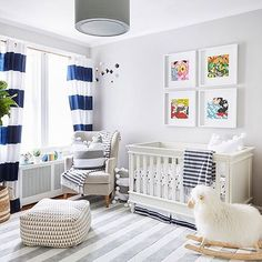 beautiful blue white and gray nursery