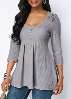 Lace Patchwork Button Detail Scoop Neck Blouse - Trend Way Dress Stylish Tops For Girls, Trendy Tops For Women, Blouses For Women, Mode Outfits, Casual Outfits, Fashion Outfits, Fashion Blouses, Blouse Styles, Blouse Designs