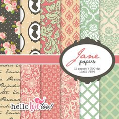 INSTANT DOWNLOAD Jane digital paper collection