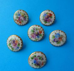 Antique Beautiful Set of 6 Hand Floral Painted Porcelain Buttons | eBay