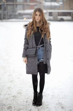 Winter Outfit Ideas: Anna Vershinina is wearing a Kensington parka form Canada Goose and the denim cut-offs are from Sheinside