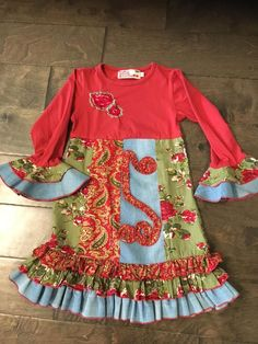 New Exstore Vintage Girls Christmas Red Tartan Patch Pocket Dress Ages 2//3 Years