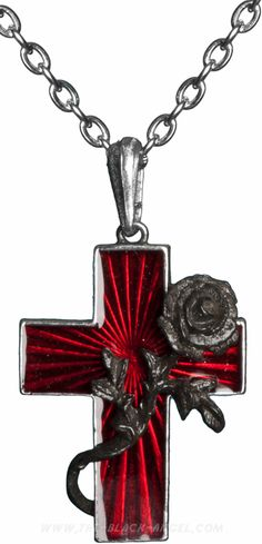 Red enameled cross necklace-pendant with black pewter rose, by Alchemy Gothic.