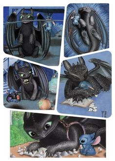 ❤️ toothless and stitch kawaii Httyd, Hiccup, Croque Mou, Baymax, Toothless And Stitch, Night Fury Dragon, Cute Disney Drawings, Beautiful Dragon, Pikachu