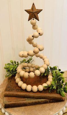 wood bead wired Christmas tree