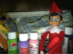 Elfs, our Elf on the Shelf colors our noses red like Rudolph's!