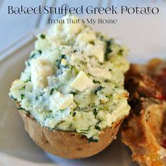 Creamy Baked Stuffed Greek Potatoes full of spinach, feta cheese and Greek seasonings.