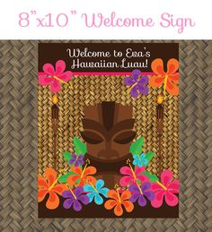 Hawaiian Luau Birthday Party Welcome Sign - 8x10 Welcome Sign - Printable Luau Birthday Party Sign - Hawaiian Party Sign