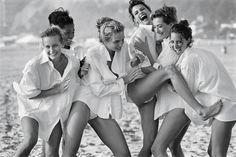 Estelle Lefébure, Karen Alexander, Rachel Williams, Linda Evangelista, Tatjana Patitz, and Christy Turlington - Photographed by Peter Lindbergh, Vogue, August 1988