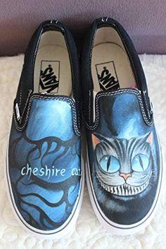 5c39b05f748347 Vans Shoes Women Black Alice In Wonderland Unique Sneaker Men Women Hand  Painted Shoes Fashion Canvas Shoes