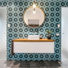 Talk about a bold statement from Del Casa Homes! We love the gun metal taps as a subtle complement to the patterned wall. Bathroom Renos, Bathroom Ideas, Bathrooms, Reece Bathroom, Wall Patterns, Bath Time, Bathroom Inspiration, Patterned Wall, Taps
